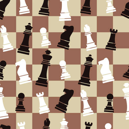 queen of clubs: vector seamless chess background pattern