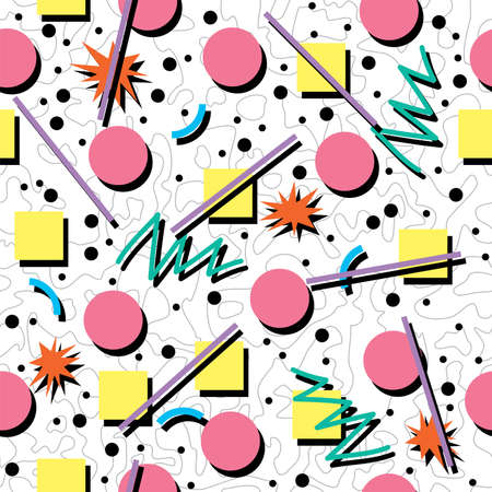 vector seamless 80s or 90s chaotic background pattern Çizim