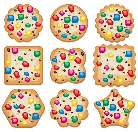choc: vector set of colorful chocolate chip cookies of different shapes