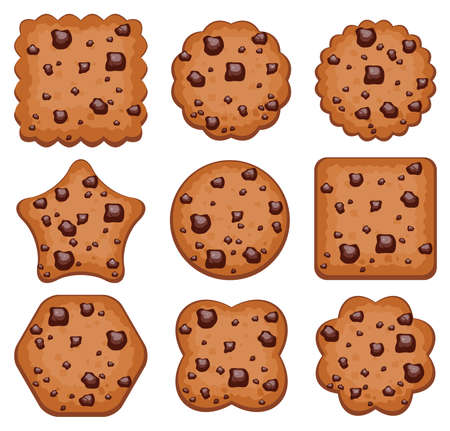 different shapes: vector set of chocolate chip cookies of different shapes