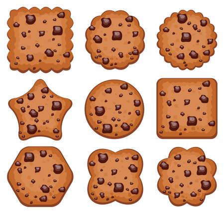 vector set van chocolate chip cookies van verschillende vormen