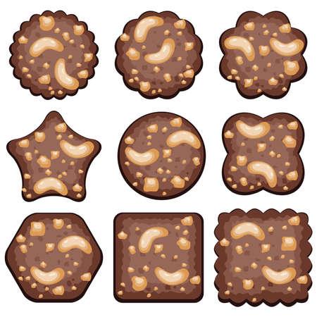 pastel de chocolate: vector conjunto de galletas de chocolate con nueces Vectores