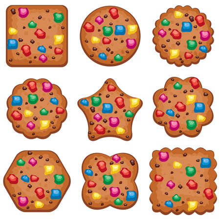 chip set: vector set of colorful chocolate chip cookies of different shapes