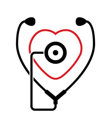 listening to heartbeat: symbol of medical check of heart health and heartbeat with stethoscope