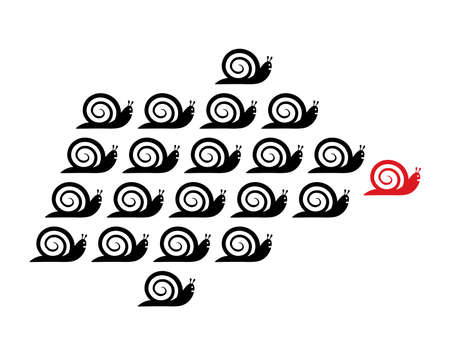 leadership concept: leadership concept with snails Illustration