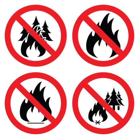 advertencia: colección de iconos no hay incendios forestales Vectores
