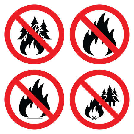 prohibited symbol: collection of no forest fire icons Illustration