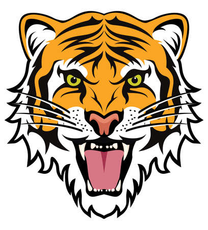 stylized face of angry tiger Stock Illustratie