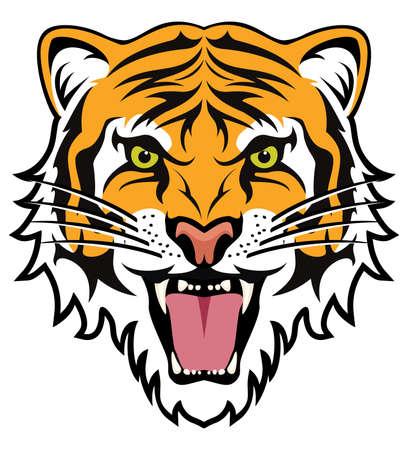 Stylizowanej twarzy zły tygrys