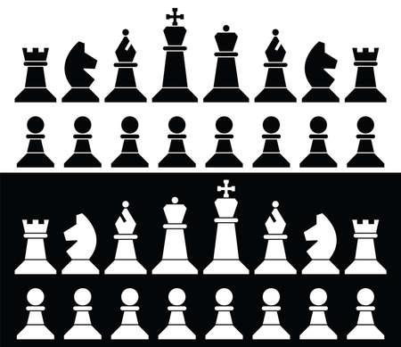 set van schaakstukken iconen