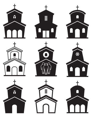 christianity: black and white icons of church buildings