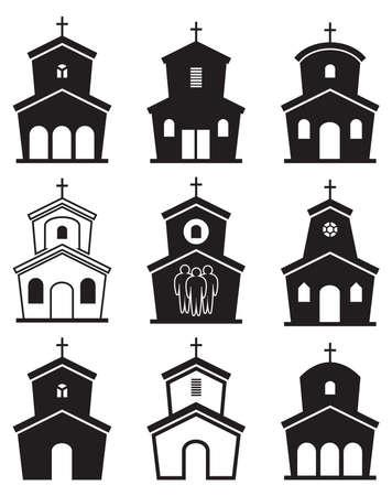 cristianismo: iconos en blanco y negro de edificios de la iglesia