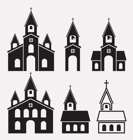 教会の建物の黒と白のアイコン