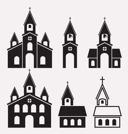 door bell: black and white icons of church buildings