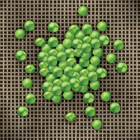 tasteful: green pea beans on brown fabric