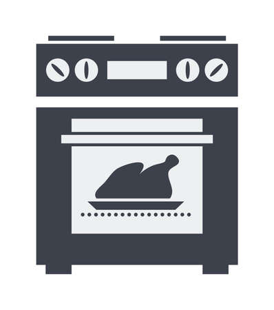 icon of kitchen electric oven with grilled chicken or turkey inside