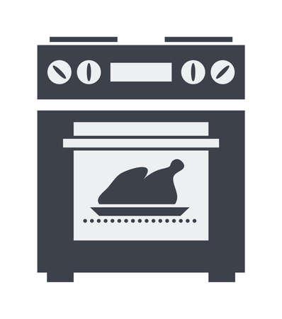 ikona kuchennym piecu elektrycznym z grillowanym kurczakiem lub indykiem wewnątrz Ilustracje wektorowe