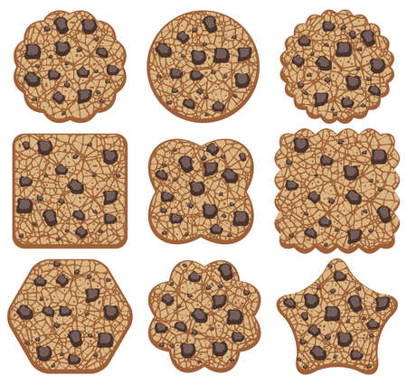 chip set: set of chocolate chip cookies of different shapes Illustration