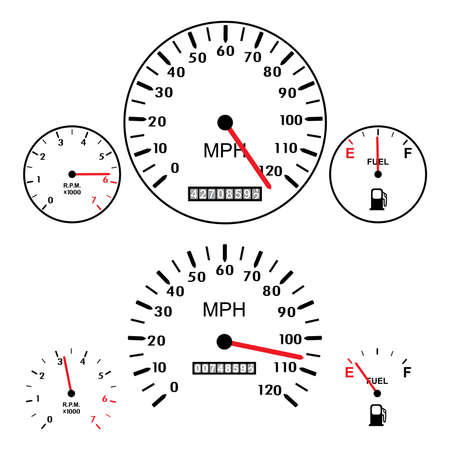car dashboards with tachometer, speed meter and gasoline gauges