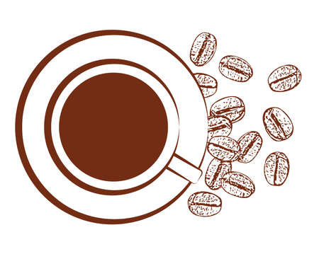 mocca: vector cup of black coffee and scattered coffee beans on white background