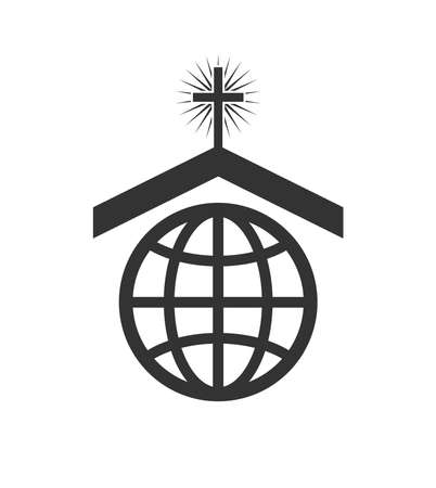 christian community: vector symbol or icon of christian church worldwide mission