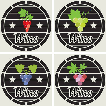 clusters: vector icons of wooden casks with wine grape clusters