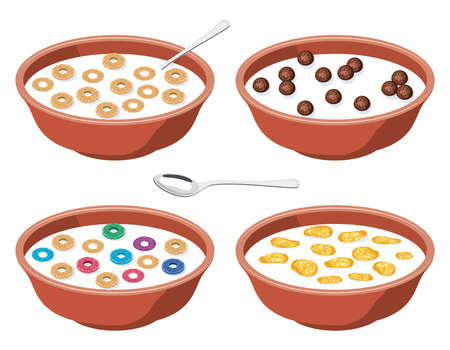 loops: vector set of bowls with breakfast cereal in milk Illustration