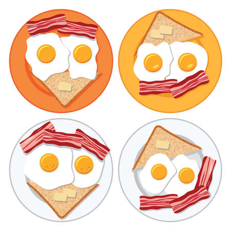 bread and butter: vector set of plates with fried eggs, bacon, bread and butter
