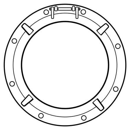 vector gestileerde zwart-witte boot venster symbool