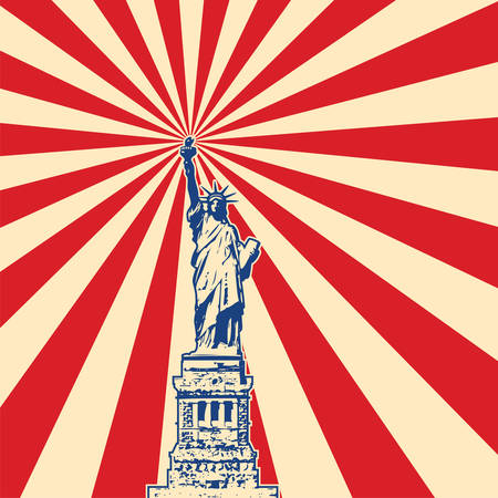 national women of color day: vector american symbol of New York statue of liberty with starburst