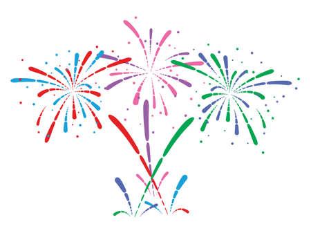 vecteur abstrait anniversaire éclatement des feux d'artifice avec des étoiles et des étincelles sur fond blanc