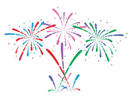 vector abstract anniversary bursting fireworks with stars and sparks on white background Çizim