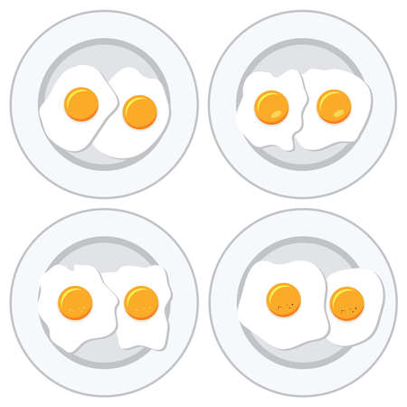 nourishment: vector set of delicious fried eggs on plates for breakfast