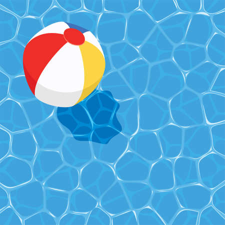 vector summer background with ball floating on water