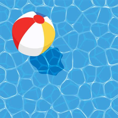 볼이 물에 떠있는 벡터 여름 배경