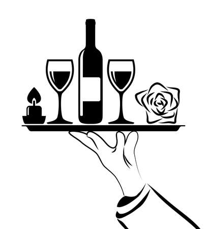 romantic dinner: vector black and white drawing of catering icon of waiters hand holding tray with romantic dinner symbols