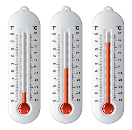 growth hot: vector set of thermometers at different levels with fahrenheit and celsius scale