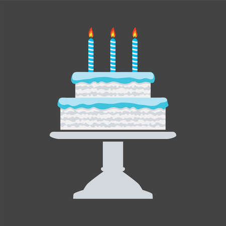 vector icon of blue birthday cake on a stand