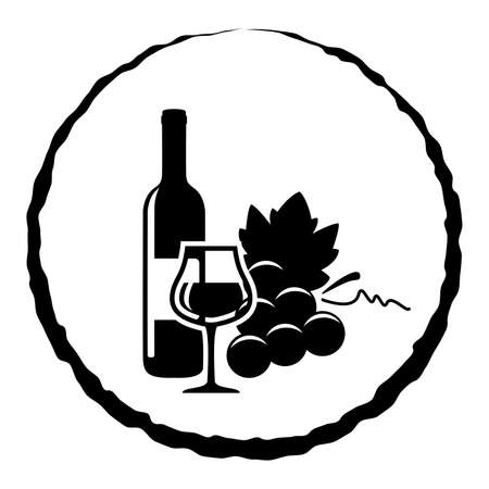 wine grapes: vector black and white icon of red wine bottle, glass and grapes