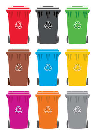 wheelie: vector set of colorful recycling wheelie bin icons Illustration