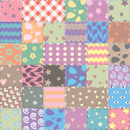 vector patchwork handicraft fabric background in shabby chic style Illustration