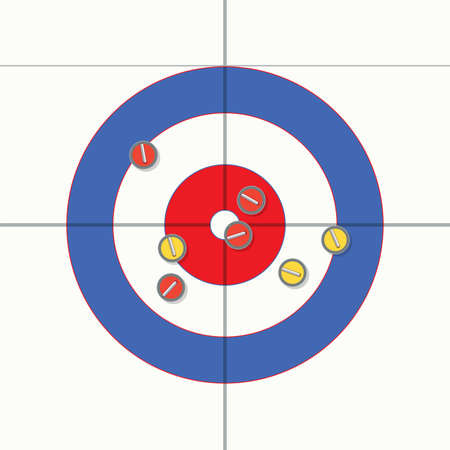 multiple targets: vector sport illustration of curling stones on ice Illustration