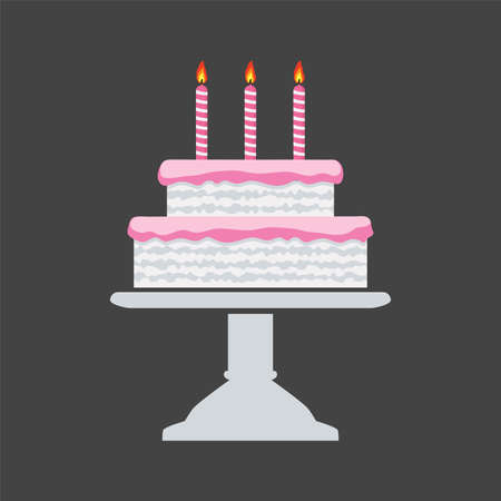cake stand: vector icon of pink birthday cake on a stand