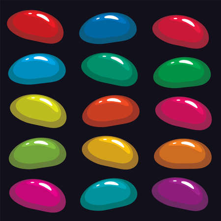 assortment: vector assortment of colorful fruit gelatin jelly beans on black background Illustration