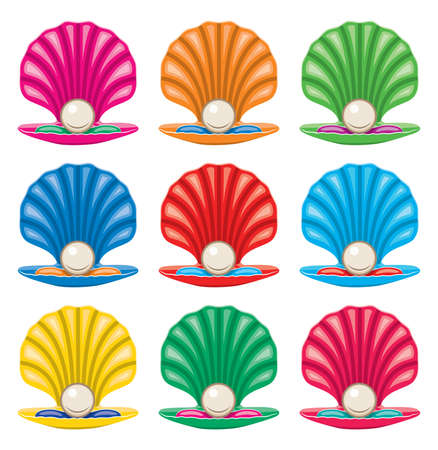 pearl shell: vector colorful set of pearl in a shell icons