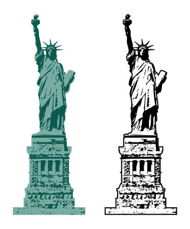 Vector American Symbol Of New York Statue Of Liberty With Starburst