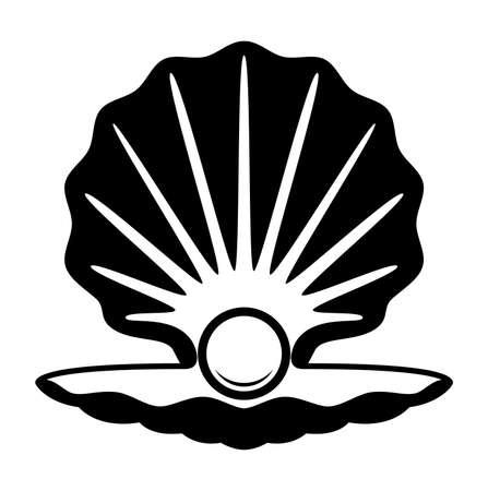 perlas: vector de la perla en un icono blanco y negro concha