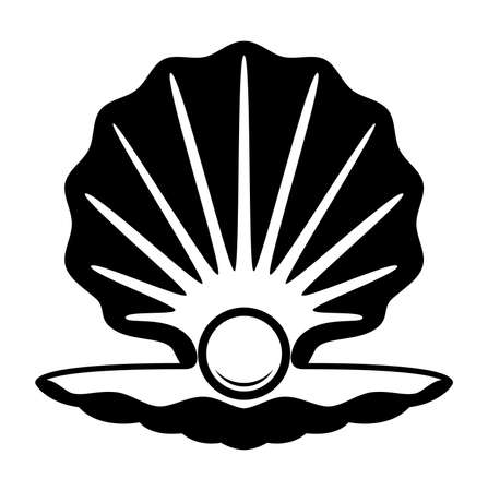 vector pearl in a shell black and white icon