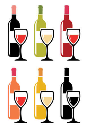 wine glass: vector set of colorful icons of red wine bottles with wine glasses Illustration