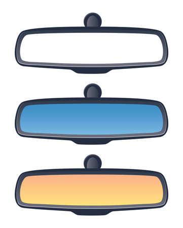 vector set of car rear view mirrors